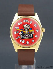 Vintage wind-up Claridge Casino Advertising Character Watch w/ Dice Numerals