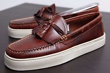 GH BASS WEEJUNS CUP LARSON SNEAKERS LEATHER LOAFERS BROWN MENS KILTED