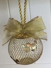 "Walt Disney Gold Mesh Christmas Ornament 3"" Ball With Mickey Mouse Ears"