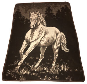 "VTG 1980s Ibena Horse 70"" x 54"" Reversible Throw Blanket Brown & Beige"