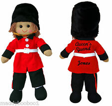 Personalised to Order Soldier Queens Guard London Toy Rag Doll 45cm Childs Gift
