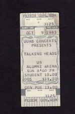 1983 Talking Heads Unused Concert Ticket Amherst Ny Speaking In Tongues Byrne