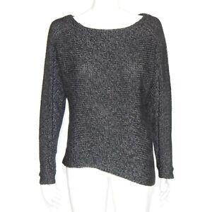 HELMUT LAND Chunky Knit Gray Asymmetrical Hem Sweater Womens Petite P - 614
