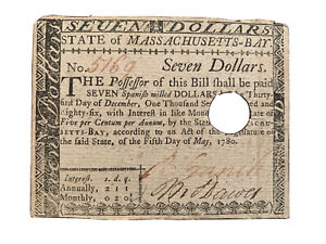 RARE!  UNCERTIFIED $7 MASSACHUSETTS COLONIAL CURRENCY MAY 5th, 1780