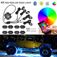 For Jeep Cherokee 1990-2017 Multi Color RGB LED Rock Lights Bluetooth Music 4x