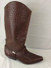 Bootalinos Brown Croc Print Boots Leather Womens 9 M Pointed Toe Pull On Western