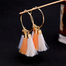 earrings Golden Creole Ring Pompom Long White Coral Salmon Retro AA20