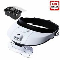 2 LED Headband Headset Head Lamp Light Jeweler Magnifier Magnifying Glass Loupe
