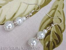 Bridal White Glass Pearl Crystal Rondell Beads Pierced Dangle Drop Earrings  New
