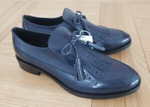 Geox Respira Brogue F Navy Blue Leather Casual Womens Tassel Loafers UK 2.5