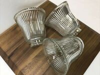 "Vtg Set 3 Art Deco Holophane Style Ribbed Glass Lamp Shades Globes 2 1/8 1/4""Fit"