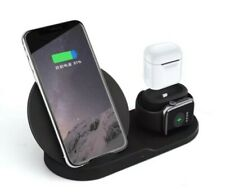 3 in 1 Wireless Charger Fast Charging Dock Station For iPhone Apple Watch Black