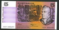 Australia Low Serial 1990 $5 QEK 000601 Fraser Higgins Paper Banknote issue r212