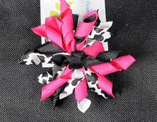 "3"" Shocking PinkCouture Cow Korker Hair Bows (Handmade"