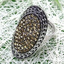 1x Yellow Rhinestone Oval Bead Adjustable Cocktail Finger Ring Tibetan Silver