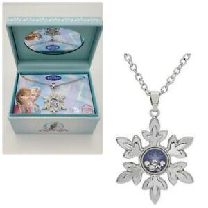 Disney Girls Frozen Snowflake Pendant Necklace Jewelry Box Elsa Anna NEW