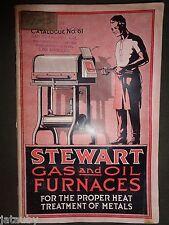 Vintage STEWART GAS OIL FURNACES CATALOG No. 61 PRICE LIST Chicago LA SF CA ad