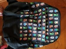 "Minecraft Characters All Over Print 16"" Backpack Book Bag Tote W/Bottle Pocket"