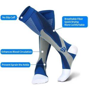 1 Pair Compression Socks Men Women for Running Nurses Shin Splints Flight Travel