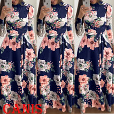 UK Women Long Floral Casual Dress Ladies Long Sleeve Cocktail Party Maxi Dress