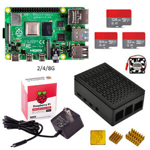 Raspberry pi 4 Basic Kit (2/4/8GB) with case SD card US power adapter heat sink