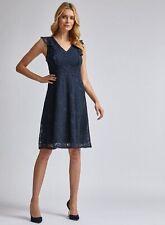 Dorothy Perkins Womens Blue Lace Taylor Midi Dress V-Neck Sleeveless Knee-Long