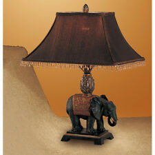 Set of 2 Traditional Table Lamp with Elephant Design Base dark fabric shade NEW