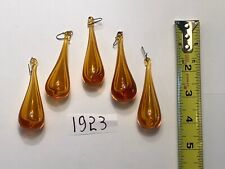 Crystal Chandelier Part 5 Pcs 3 In Amber Hollow Tear Drop