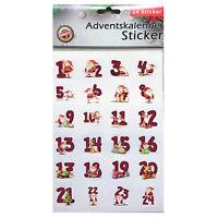 Adventskalender Sticker 1-24 Basteln Adventskalender bauen Nummern Aufkleber