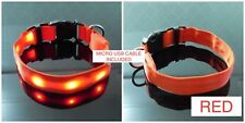 RECHARGEABLE GLOW LED COLLAR Pet Cat Dog Flashing Light Neck Safety MICRO USB