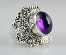 Women Men Fashion 925 Silver Ring Amethyst Wedding Gift Evening Party Size 8