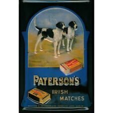 PATERSON'S IRISH MATCHES, DUBLIN/ FOXHOUNDS, EMBOSSED(3D) METAL ADVERTISING SIGN