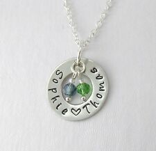 Personalized 2 Name Necklace Birthstone2 Ideal Mum Grandma Family Gift