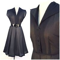Vintage 950s Navy Blue Sheer Seersucker Fit and Flare Dress Size M L