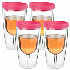 10oz Wine Glass Acrylic Tumbler Vino Pink Drink Lid Wine 2Go Set of 4 Gift