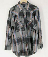 Wrangler Men's 16.5 34 Cowboy Cut Reg Fit Western Shirt pearl snap black gray