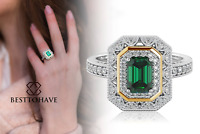 New 925 Silver Ladies Emerald Cut Green Wedding Engagement Ring
