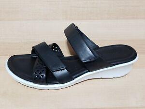 ECCO Felicia Sandals Size 10 Black Leather Comfort Shoes Slip On Slides New
