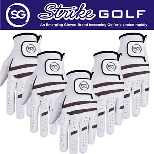 SG Pack of 5 Men Premium Cabretta leather golf gloves Grey White Promotion Price