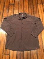 North Face Mens Shirt 2XL Long Slew Button Up Plaid Brown XXL