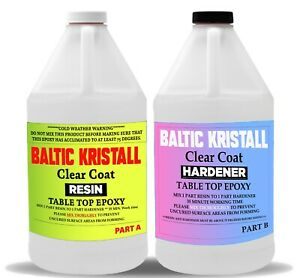 BALTIC Kristall Clear Epoxy Resin for Wood Bar Table Top 2-Gallon Kit UV Protect