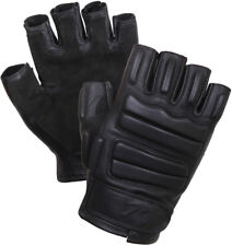 Black Leather Fingerless Padded Gloves Tactical Foam Military with Suede Palms