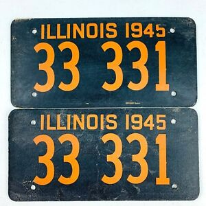 Illinois 1945 Vintage License Plate Pair 3333 Cardboard Fiberboard War Time Set