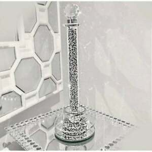 35Cm Crushed Diamond Silver Crystal Filled Kitchen Roll Holder Diamante Sparkle
