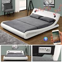 Memphis Weiss Bluetooth Doppelbett Polsterbett Bett Lattenrost Ehebett