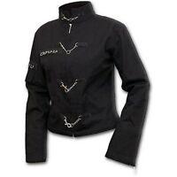 Womens Gothic Black Military Zip Up Metal Rock Steampunk Jacket Goth Punk Emo