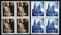 Bloque de cuatro Sellos de España 1954 Año Santo Compostelano 1130/1131 nuevos
