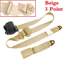 Beige Retractable 3 Point Automatic Car Front Seat Belt Buckle Kit Safety Straps