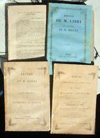 GUGLIELMO LIBRI BIBLIOFILO 4 VOLUMI DOCUMENTAZIONE FURTI BIBLIOTECHE 1850