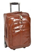 Real Leather Suitcase Travel Luggage Cabin Flight Weekend Bag Chestnut
